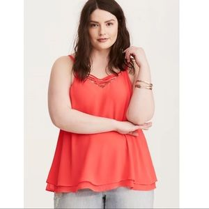 TORRID STRAPPY FRONT DOUBLE LAYERED CHIFFON CAMI 1